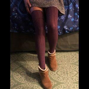 FREE PEOPLE high knitted plum over knee socks